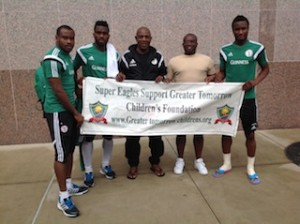 L-to-R-Goalkeeper-Vincent-Enyeama-captain-Joseph-Yobo-Chief-Coach-Stephen-Keshi-Paul-Okoku-and-midfielder-Mikel-Obi-during-Okoku-visit-to-Eagles-camp-in-USA-on-Monday